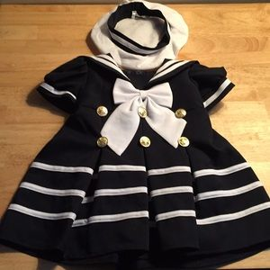 Other - Baby Girl Sailor Dressy Dress and Matching Hat 6 M